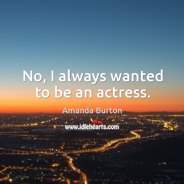 Image, No, I always wanted to be an actress.