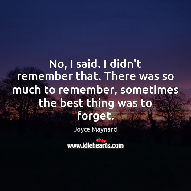 No, I said. I didn't remember that. There was so much to Joyce Maynard Picture Quote