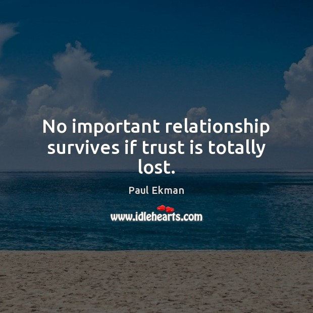 No important relationship survives if trust is totally lost. Trust Quotes Image