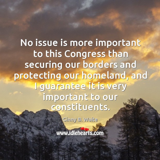 Image, No issue is more important to this congress than securing our borders and protecting
