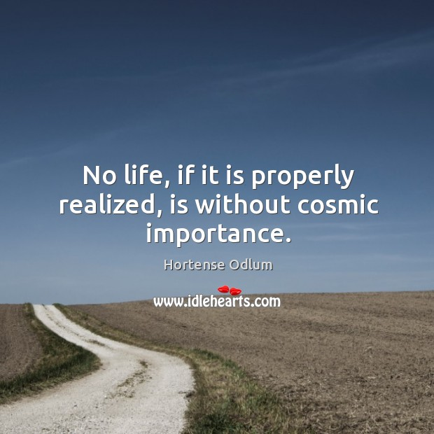 No life, if it is properly realized, is without cosmic importance. Hortense Odlum Picture Quote
