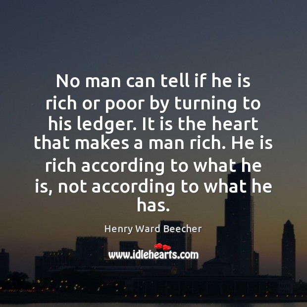 Image, No man can tell if he is rich or poor by turning