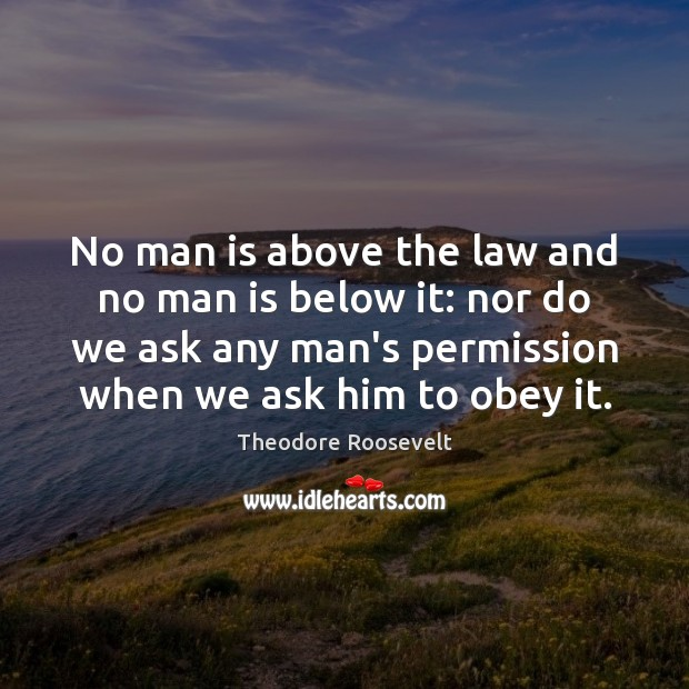 No man is above the law and no man is below it: Theodore Roosevelt Picture Quote