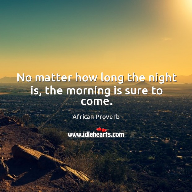 Image, No matter how long the night is, the morning is sure to come.