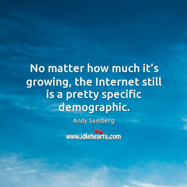 No matter how much it's growing, the internet still is a pretty specific demographic. Andy Samberg Picture Quote