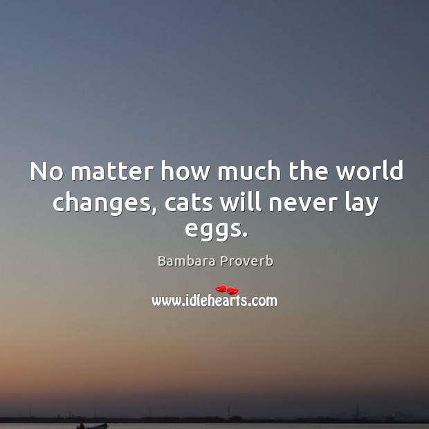 No matter how much the world changes, cats will never lay eggs. Bambara Proverbs Image