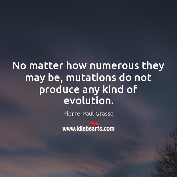 Image, No matter how numerous they may be, mutations do not produce any kind of evolution.