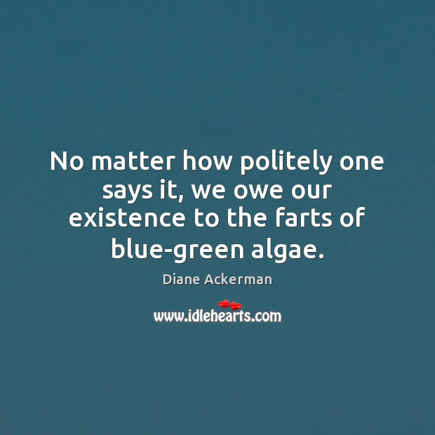 No matter how politely one says it, we owe our existence to the farts of blue-green algae. Diane Ackerman Picture Quote