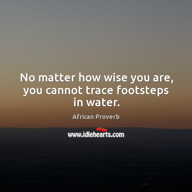 No matter how wise you are, you cannot trace footsteps in water. Image