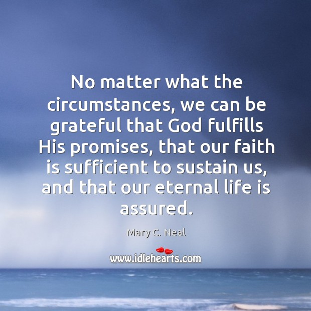 Mary C. Neal Picture Quote image saying: No matter what the circumstances, we can be grateful that God fulfills