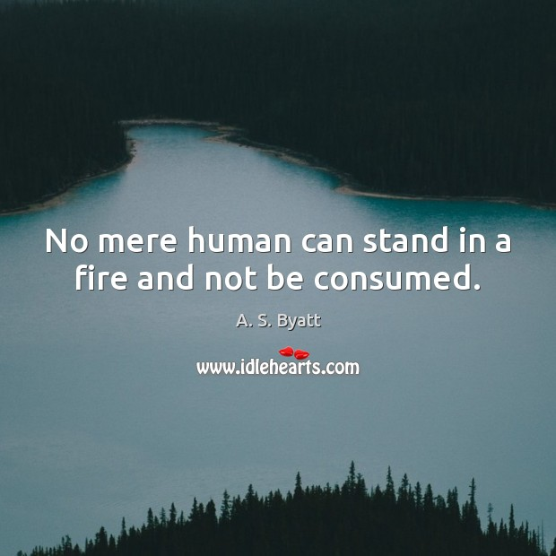 No mere human can stand in a fire and not be consumed. Image