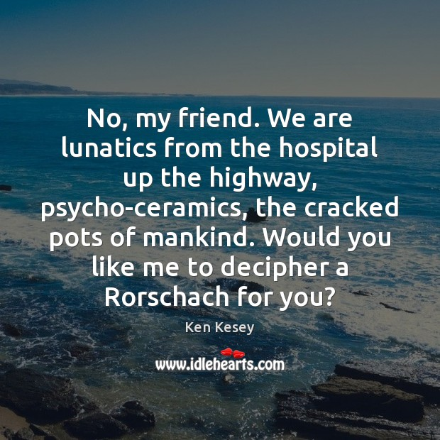 No, my friend. We are lunatics from the hospital up the highway, Image