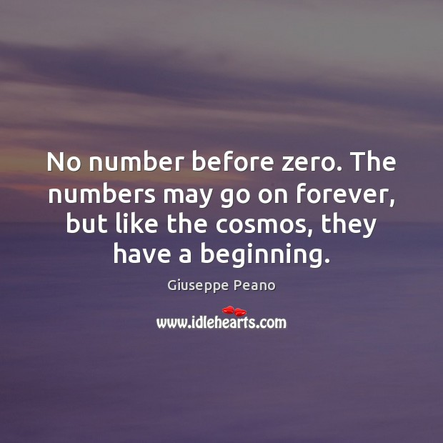 No number before zero. The numbers may go on forever, but like Image