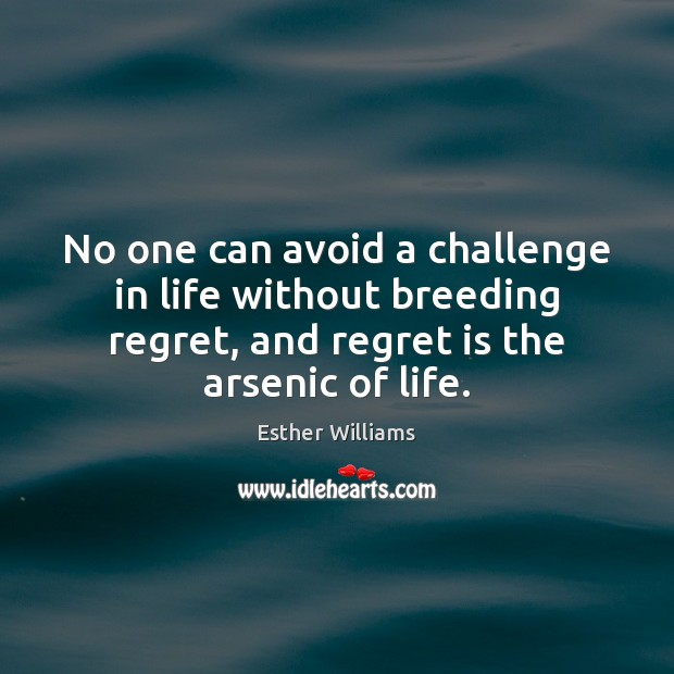 No one can avoid a challenge in life without breeding regret, and Regret Quotes Image