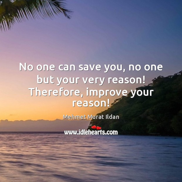 No one can save you, no one but your very reason! Therefore, improve your reason! Mehmet Murat Ildan Picture Quote