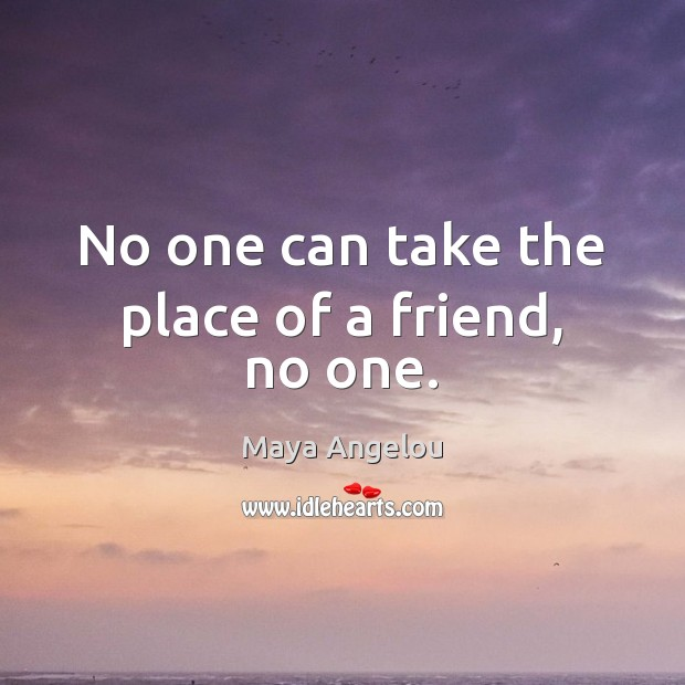 Image, No one can take the place of a friend, no one.