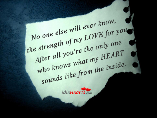 No One Else Will Ever Know, The Strength Of My…