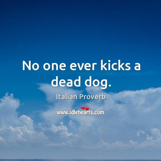 Image, No one ever kicks a dead dog.