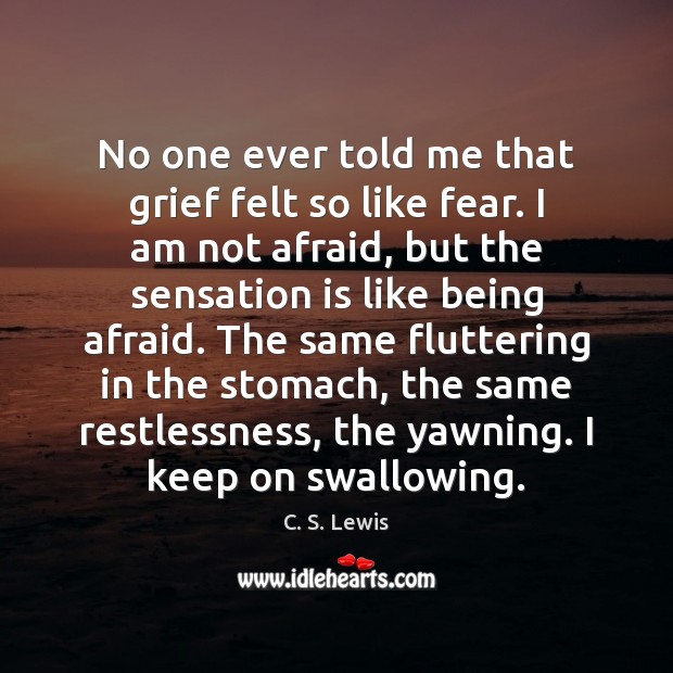 No one ever told me that grief felt so like fear. I C. S. Lewis Picture Quote