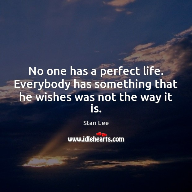 No one has a perfect life. Everybody has something that he wishes was not the way it is. Stan Lee Picture Quote