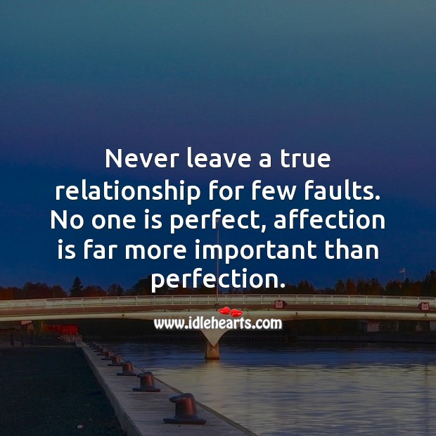 No one is perfect, affection is far more important than perfection. Relationship Quotes Image