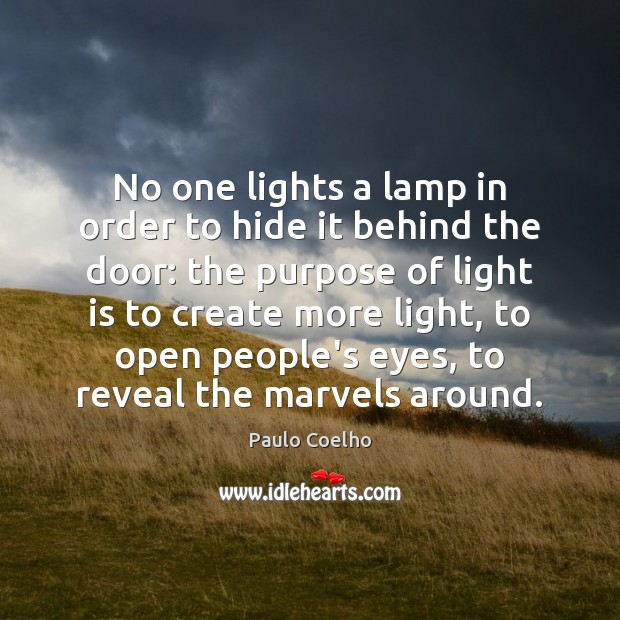 Image, No one lights a lamp in order to hide it behind the