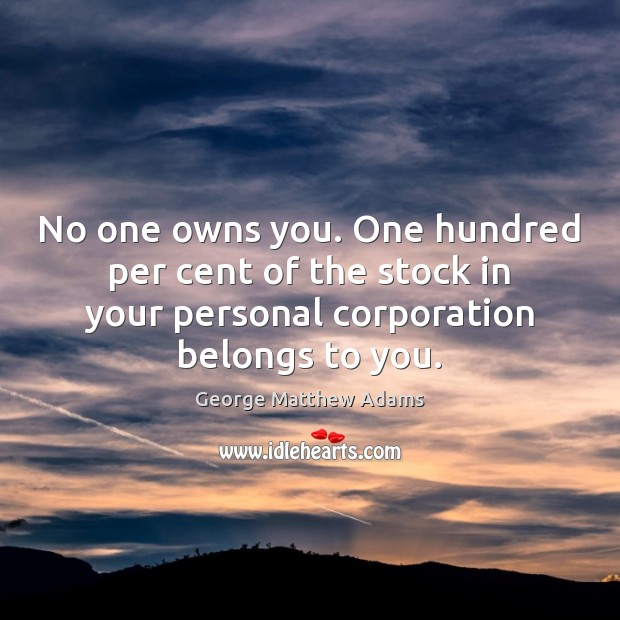 No one owns you. One hundred per cent of the stock in Image
