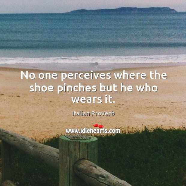 Image, No one perceives where the shoe pinches but he who wears it.