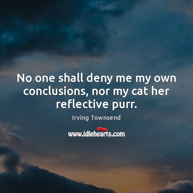 No one shall deny me my own conclusions, nor my cat her reflective purr. Image