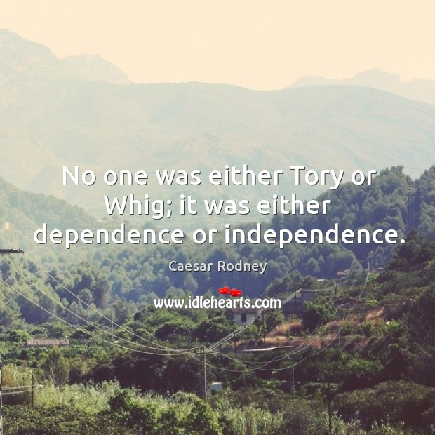 Image, No one was either tory or whig; it was either dependence or independence.