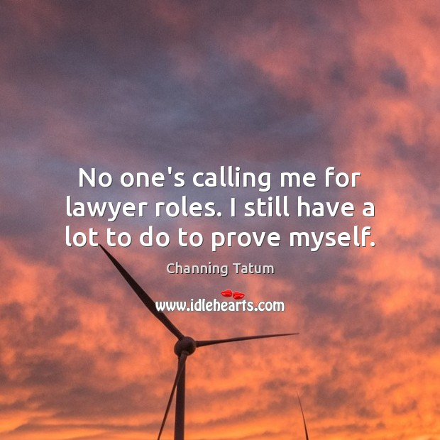 Image, No one's calling me for lawyer roles. I still have a lot to do to prove myself.