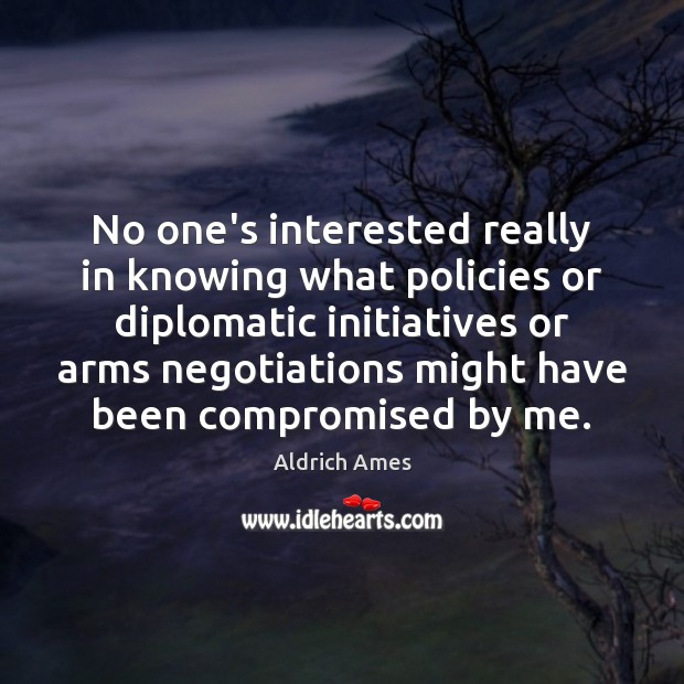 Image, No one's interested really in knowing what policies or diplomatic initiatives or