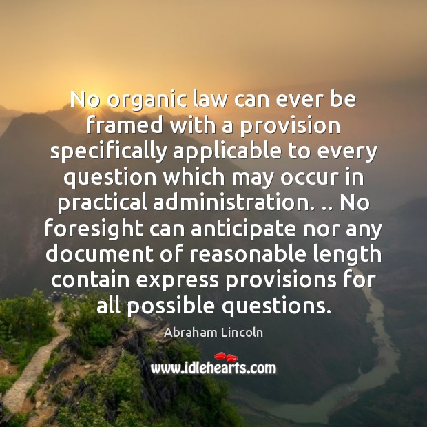 Image, No organic law can ever be framed with a provision specifically applicable