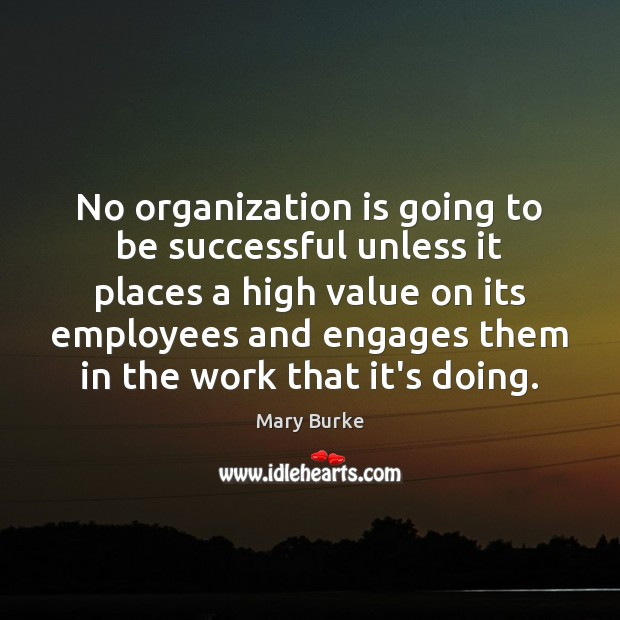 No organization is going to be successful unless it places a high Image