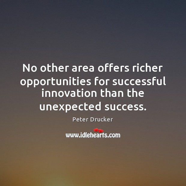 No other area offers richer opportunities for successful innovation than the unexpected Image