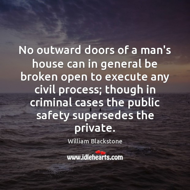 No outward doors of a man's house can in general be broken Image