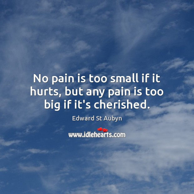 No pain is too small if it hurts, but any pain is too big if it's cherished. Edward St Aubyn Picture Quote