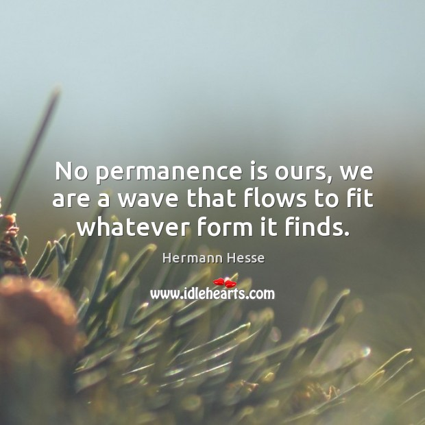 No permanence is ours, we are a wave that flows to fit whatever form it finds. Image