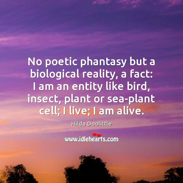 No poetic phantasy but a biological reality, a fact: I am an Hilda Doolittle Picture Quote