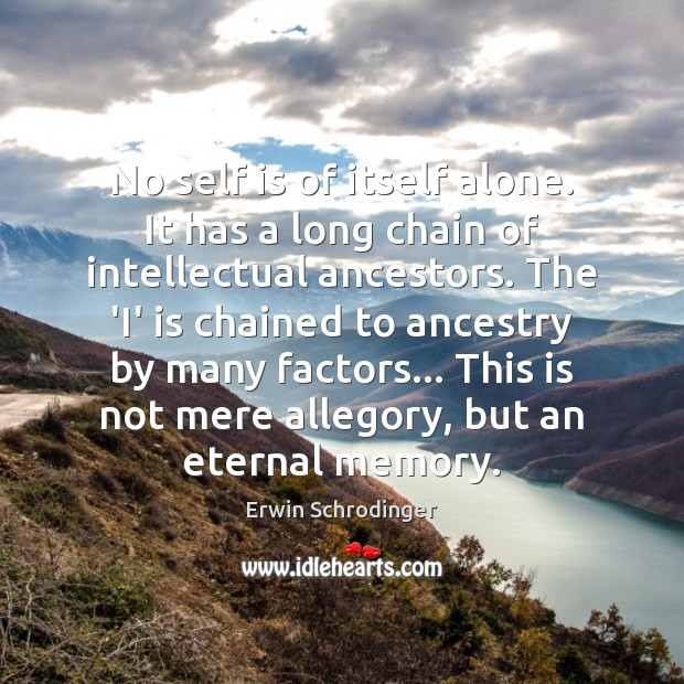 No self is of itself alone. It has a long chain of Erwin Schrodinger Picture Quote