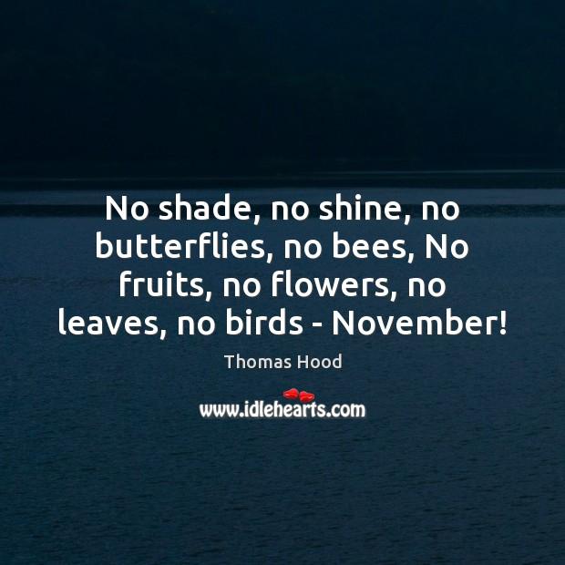 No shade, no shine, no butterflies, no bees, No fruits, no flowers, Thomas Hood Picture Quote