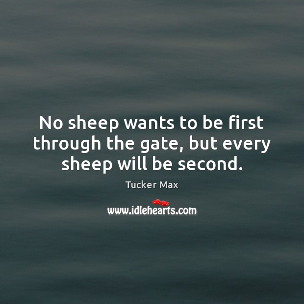 No sheep wants to be first through the gate, but every sheep will be second. Tucker Max Picture Quote
