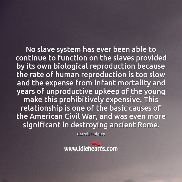 No slave system has ever been able to continue to function on Carroll Quigley Picture Quote