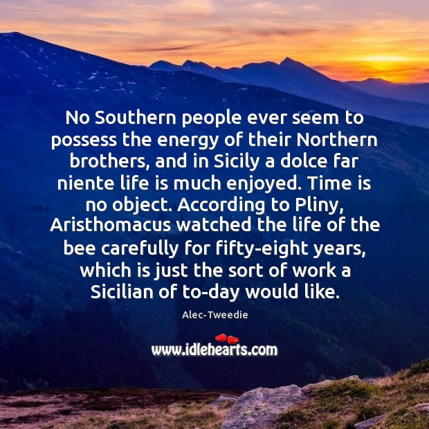 No Southern people ever seem to possess the energy of their Northern Image