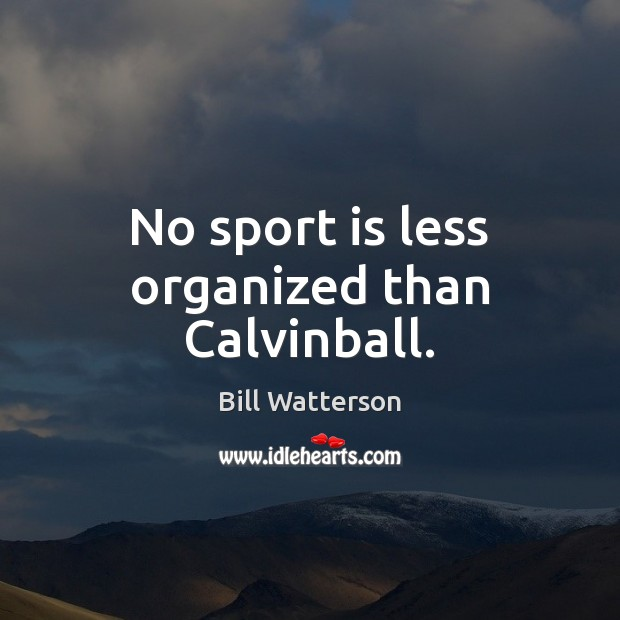 No sport is less organized than Calvinball. Bill Watterson Picture Quote