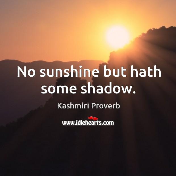No sunshine but hath some shadow. Kashmiri Proverbs Image