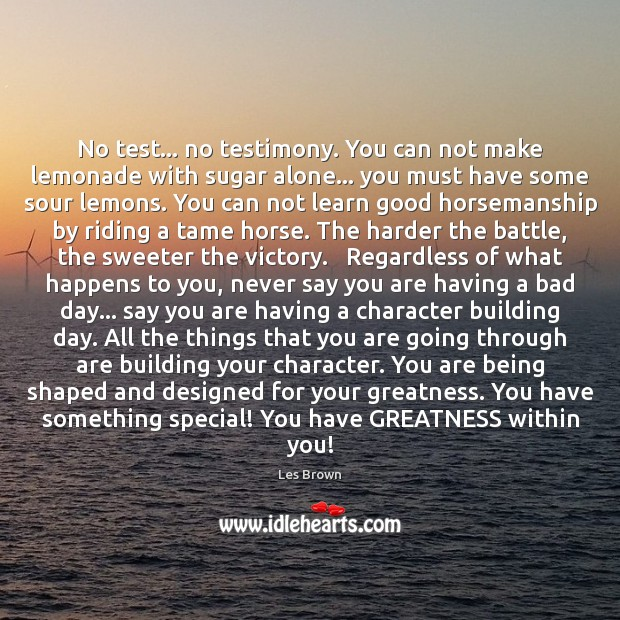 No test… no testimony. You can not make lemonade with sugar alone… Les Brown Picture Quote