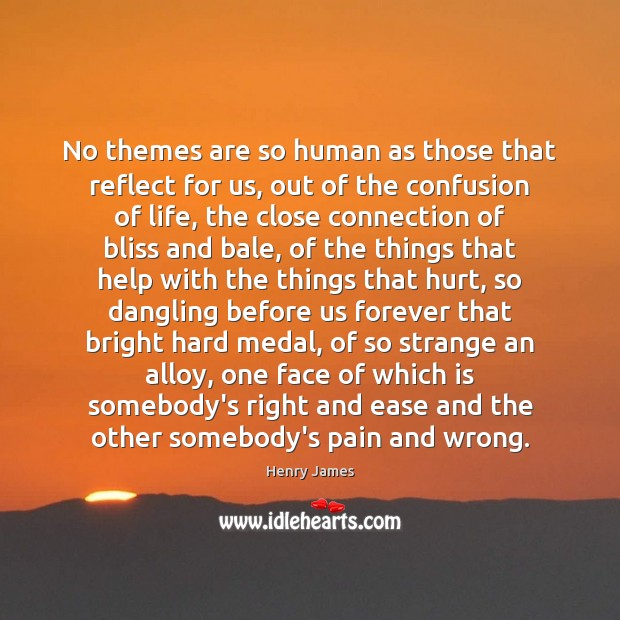 No themes are so human as those that reflect for us, out Henry James Picture Quote