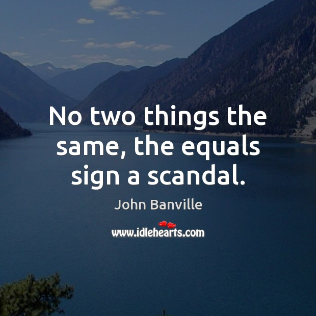 No two things the same, the equals sign a scandal. John Banville Picture Quote