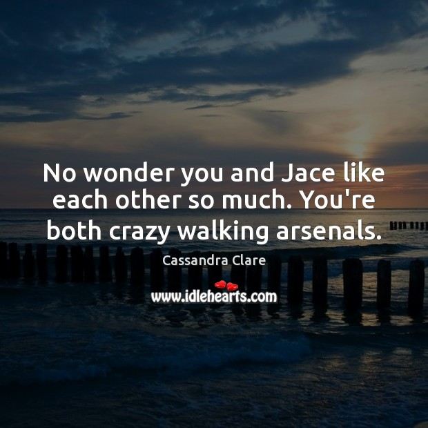 No wonder you and Jace like each other so much. You're both crazy walking arsenals. Image